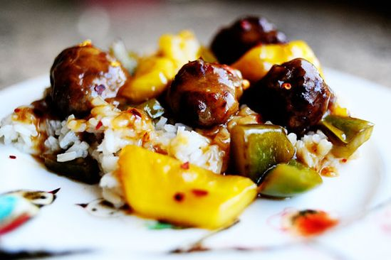 Love this stuff.  Meatballs with Pineapple & Peppers over Rice.