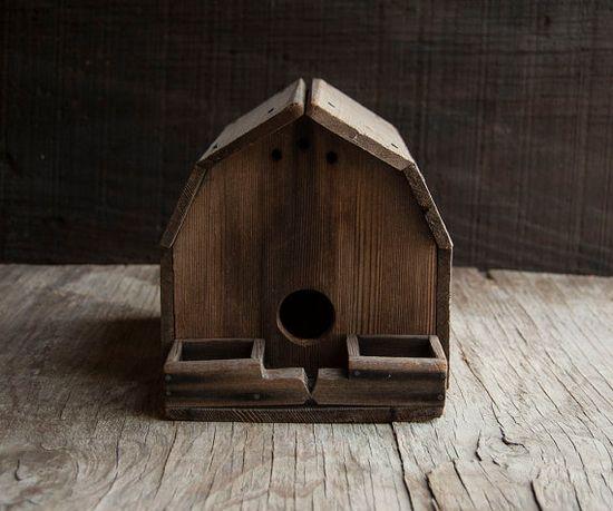 Rustic wooden bird house. #AmandaJaneJones
