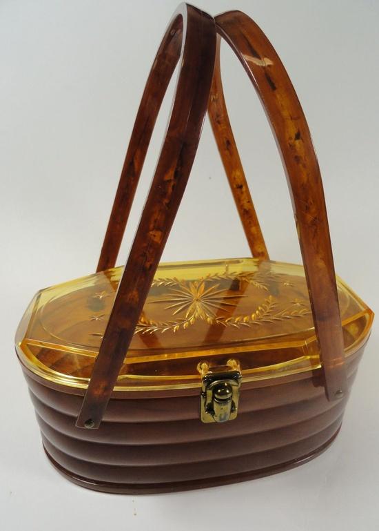 Beehive Style Caramel & Golden Honey Plastic/ Lucite Purse