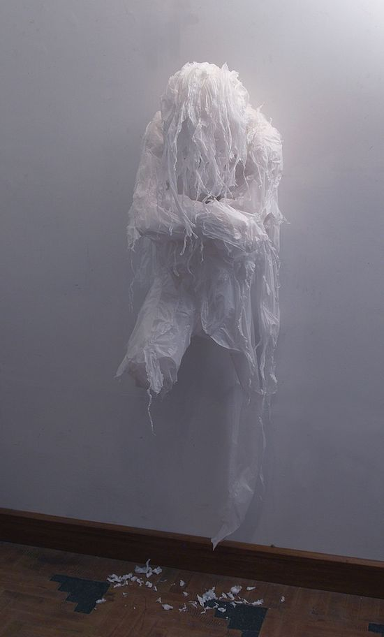 Wall ghost (made out of shredded trash bags)