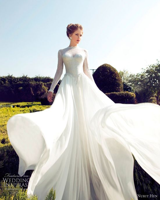 nurit hen bridal 2013 wedding dress long sleeves
