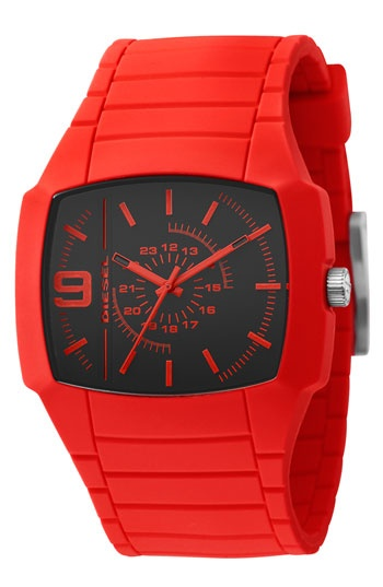 DIESEL® Square Silicone Watch