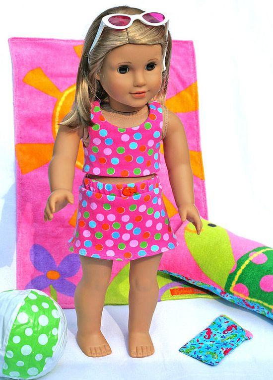 American Girl Doll 6 pc Summer Sun Set  by TallulahSophieToo, $28.00