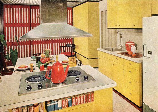 Red Stripe. Love the mid mod kitchen, especially the hood!