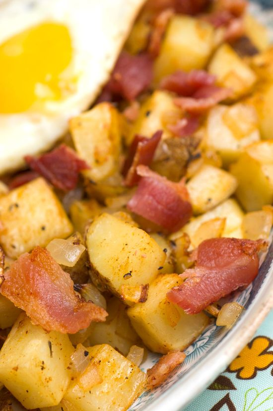 Sunny-Side-Up Eggs with Baked Potato Hash & Bacon