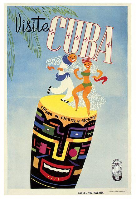 Cuba, Land of Fiesta & Siesta! #vintage #1950s #travel #posters