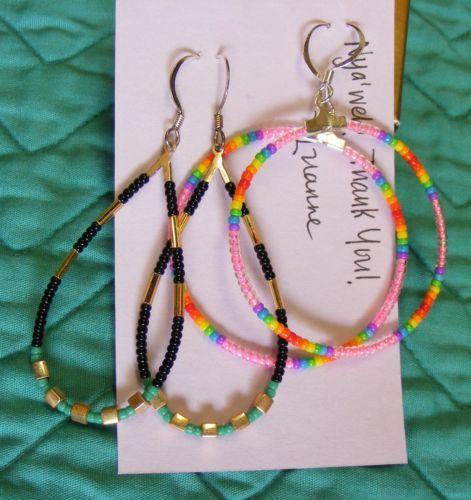 Native American Beaded Handmade Earrings Pierced 2 Pairs