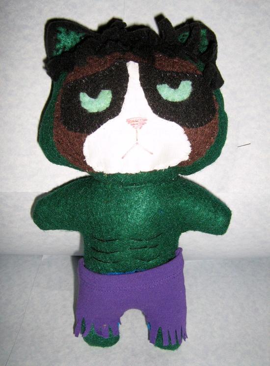 Grumpy Cat Hulk Handmade Plushie