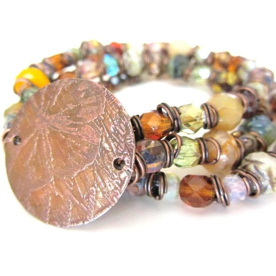 Beaded Bracelets - Czech Beads - Etched Copper Butterfly - Bohemian Jewelry