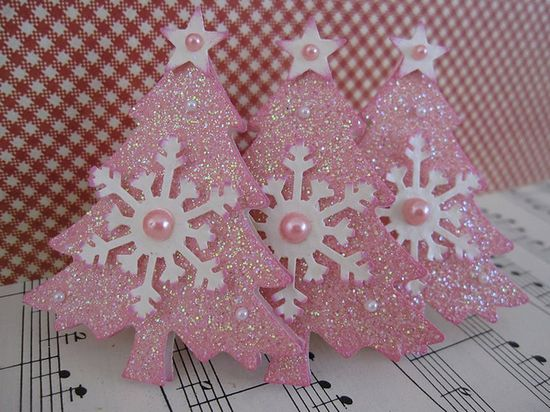 Pink Glittery Christmas Trees