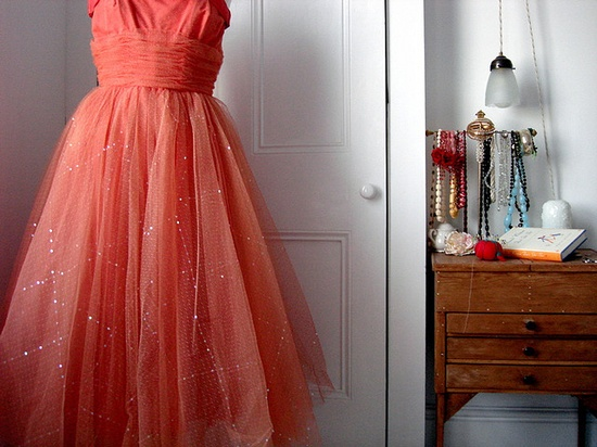 salmon tulle party dress.