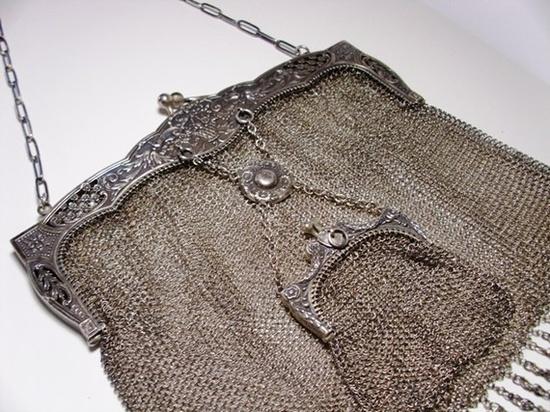 silver vintage purse