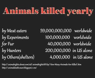 Disgusting chart of animals killed yearly. #veg #vegan #vegetarian #omnivore #meat #fur #animaltesting