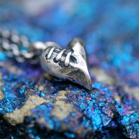 Sutured Heart charm solid sterling silver by idlehandsdesigns, $35.00