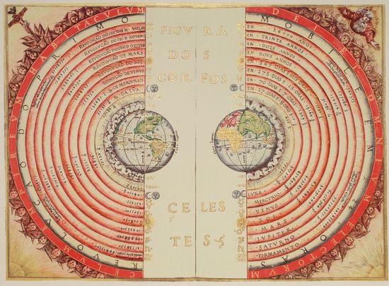 """Cosmographia"" The Ptolemaic geocentric model (pre-Copernicus) of the Universe according to the Portuguese cosmographer and cartographer Bartolomeu Velho, 1568"