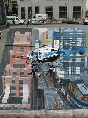 Helicopter & City 3D Street Art