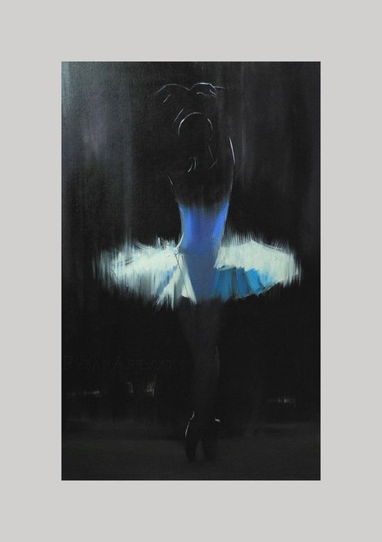 white ballerina print of my original oil painting   Black by Pysar