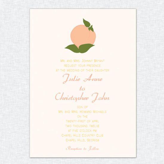 Southern Peach Wedding Invitation