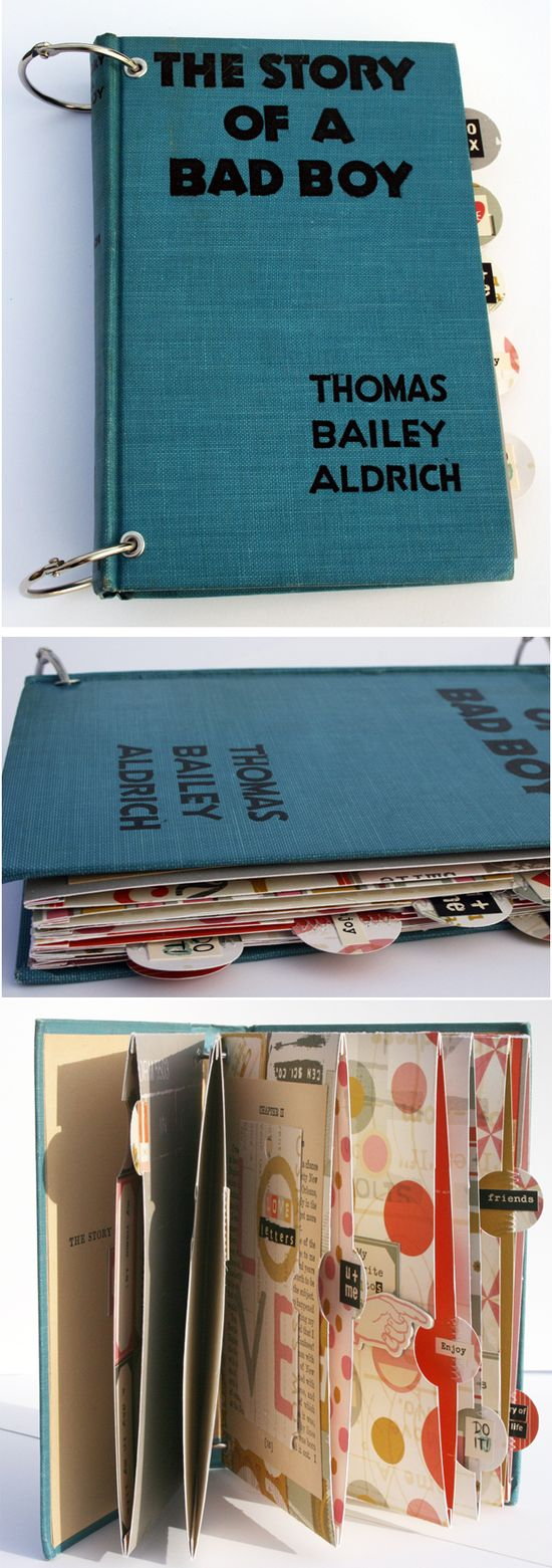 Using old books as scrapbook albums.  This is awesome!  I also like how they used an old book cover for a kindle cover.