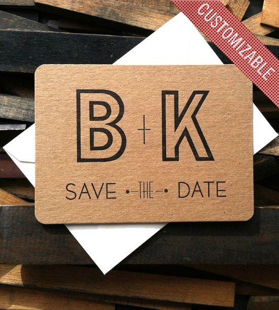 Custom Initial Save the Date Letterpress Cards