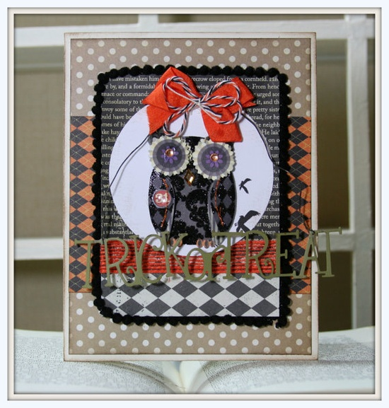 Vintage Inspired HALLOWEEN GREETING CARD owl argyle by PollysPaper, $7.25