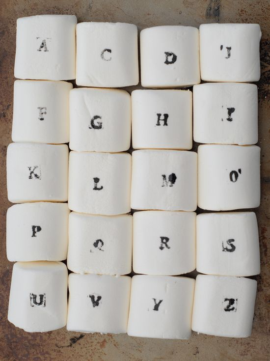 Alphabet Stamped Marshmallows