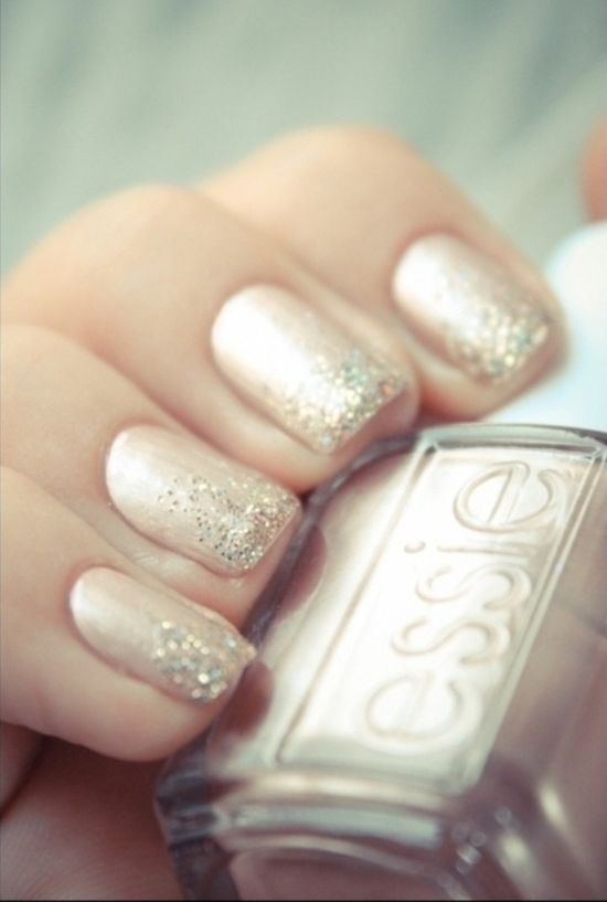 I might just want glitter on the thumb and ring finger... Wedding nails
