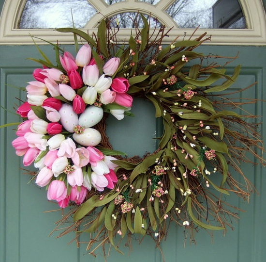 Easter Wreath Pink Tulips by countryprim on Etsy, $40.00. I think I could make this.   So pretty!!!!