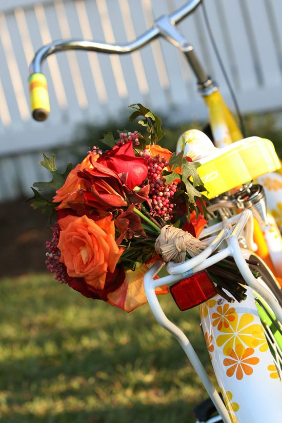 Flowers on bike.
