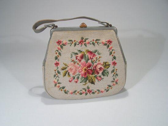 Beautiful vintage light grey handbag with floral needlepoint. #vintage #purses #handbags #accessories