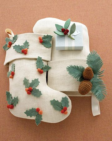 holly and pinecone stockings