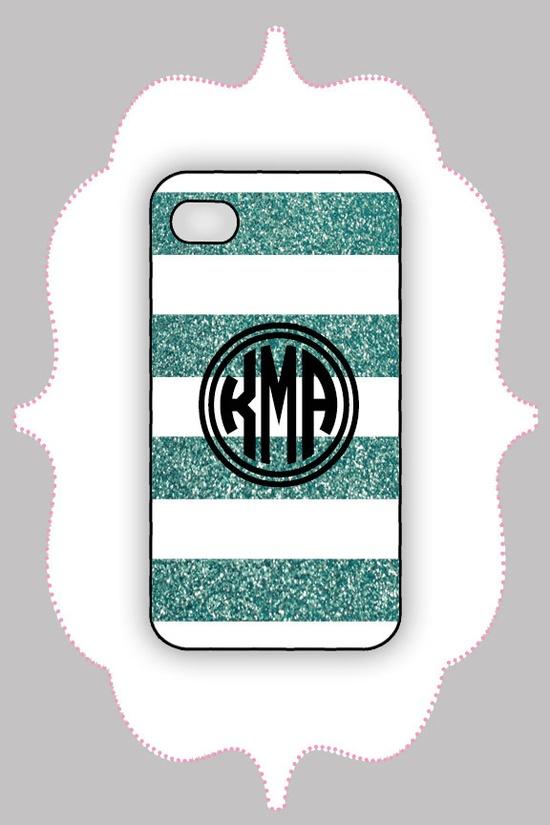 iPhone 4/4s Case- Teal Glitter Monogram- iPhone Case, iPhone 4s Case, iPhone 4 Case, iPhone 4 Cover. $16.99, via Etsy.