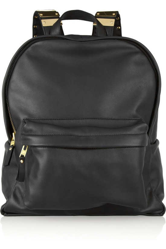 Sophie Hulme Embellished leather and brass backpack