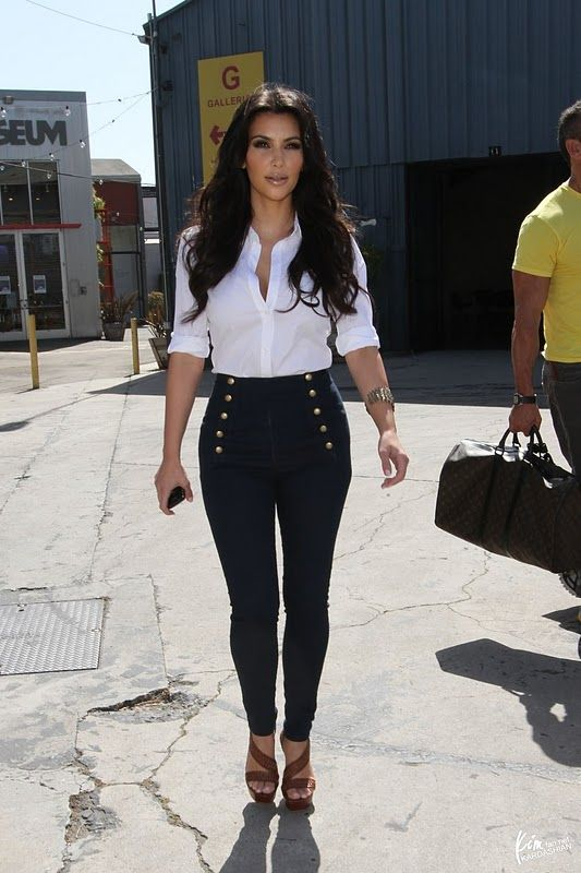 LOVE Kim's high waisted skinny sailor jeans...and her shoes!