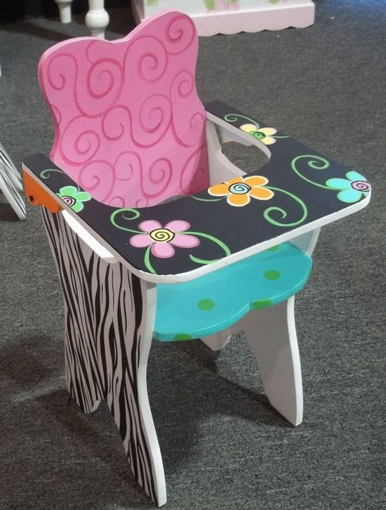 cute painted high-chair #painted #furniture