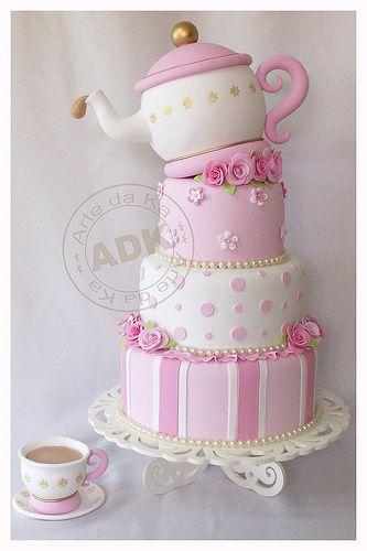 Pink tea party cake