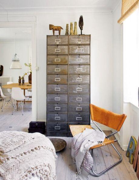 metallic lockers in the bedroom