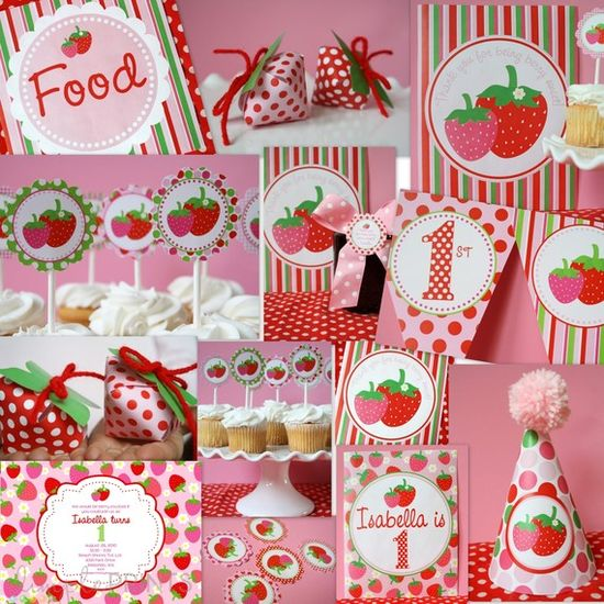 Strawberry Party :: decor, printables