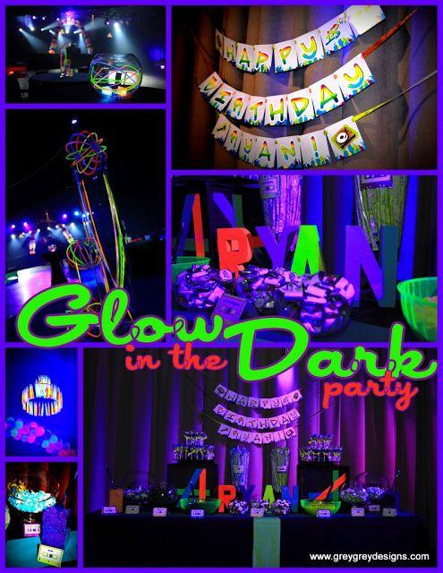 Glow in the dark sweet 16 party ideas for Glow in the dark centerpiece ideas