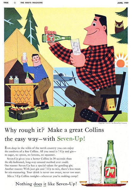 Vintage clamping? :)  #vintage #food #drinks #1950s #camping #ad