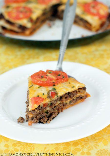 Taco tortilla lasagna  YUM