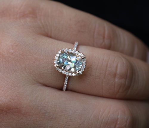 14k Rose Gold 9x7mm Aquamarine Cushion Halo and Diamonds Wedding or Engagement Ring (Choose color and size options at checkout)