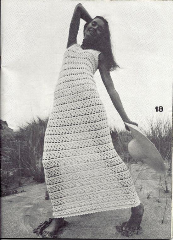 1970s Vintage Crochet Pattern  Patio Maxi Dress by mBellishKnits, $2.99
