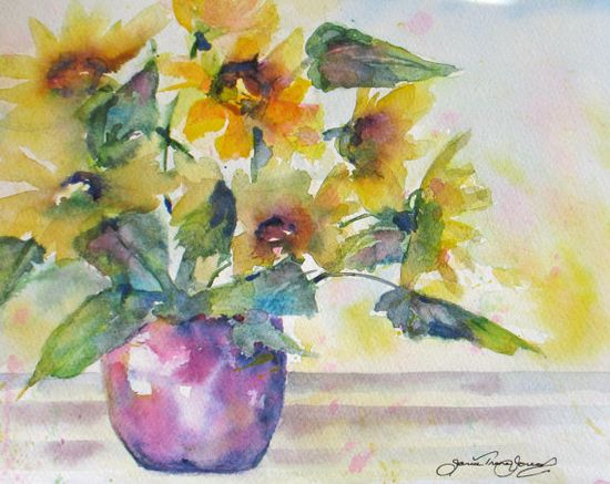 sunflower original watercolor painting by JaniceTraneJones on Etsy,
