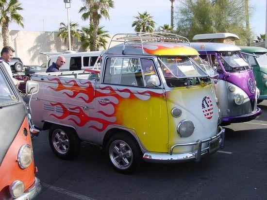 Short split window Volkswagen single cab kombi pickup custom flame paint job sweet vw