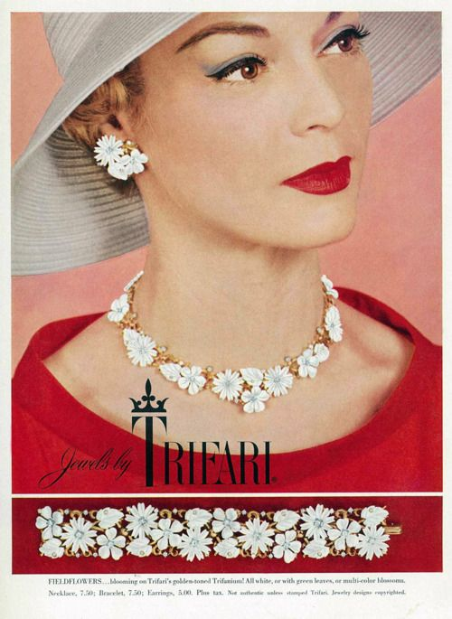 A beautiful Trifari jewelry ad from 1956 featuring model Jean Patchett. #vintage #1950s #jewelry #necklaces #ads