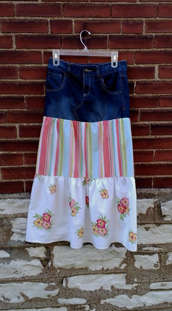 Boho Tiered Long Skirt Stripes and Flowers Womens by debupcycles, $40.00