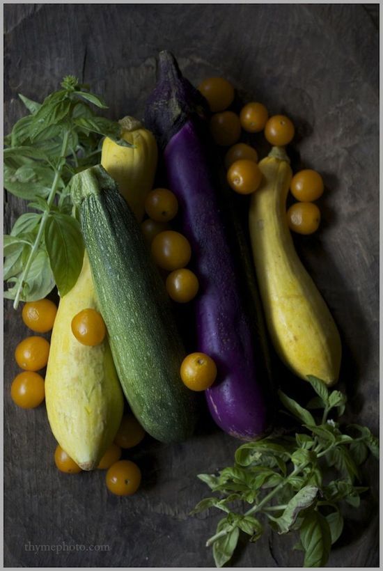 eggplant, zuch, tomato #food #photography