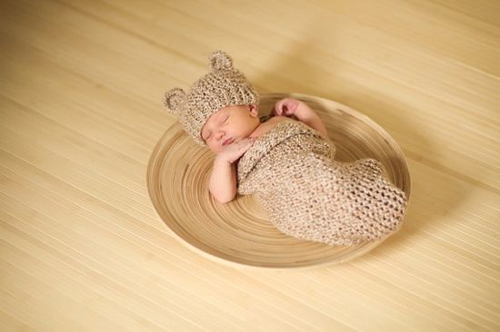 Newborn Knitted Baby Cocoon and Bear Hat Set Knit in by PhylPhil, $49.00