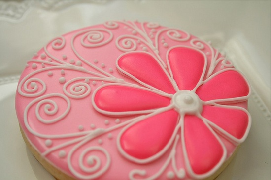 Flower with scroll cookie